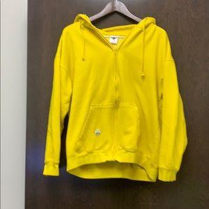 Yellow zippered hoodie. Size XL